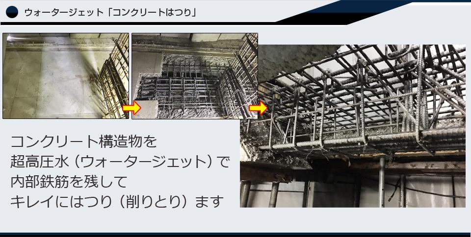 超高圧水ウォータージェットによる、コンクリートはつり(斫り)