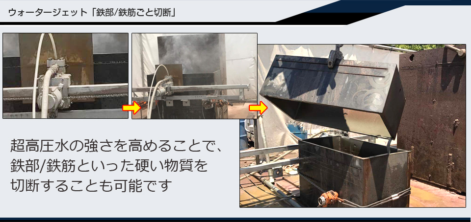 超高圧水ウォータージェットによる、鉄部切断