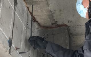 あと施工アンカー工事、9.梁側面のアンカー鉄筋挿入設置完了